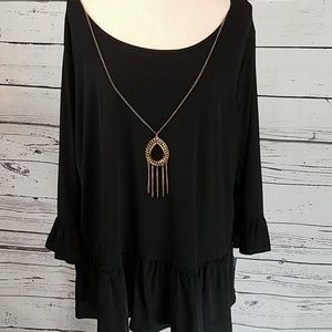 NWT! NY Collection 3X blk top w/necklace